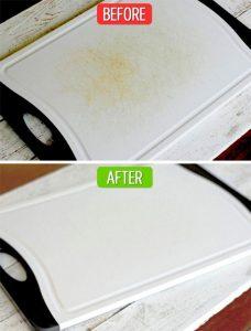 Làm sạch thớt cũ bằng chanh và muối