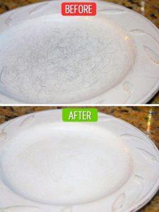 Làm mới đĩa sứ bị xước bằng chanh, dấm