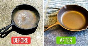Làm sạch chảo gang bằng giấm trắng và nước