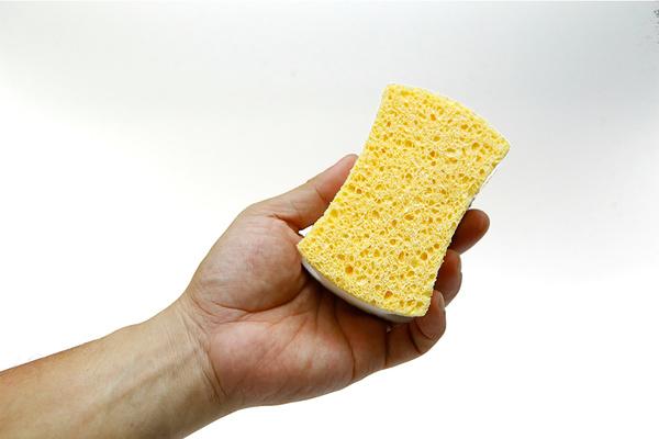 tay đang cầm một miếng rửa chén