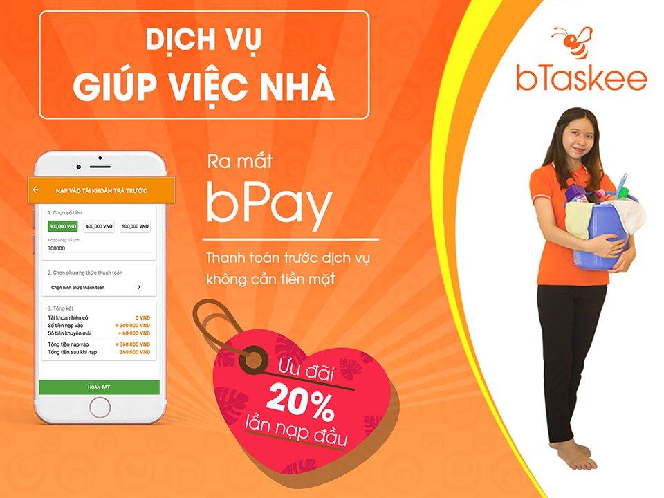 thuê người giúp việc bTaskee và thanh toán qua bPay