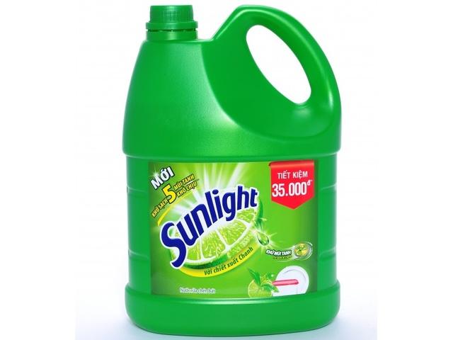 thùng nước rửa chén màu xanh lá cây, hiệu sunlight
