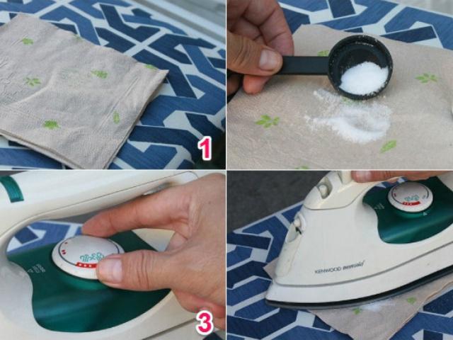 gồm 4 bức hình: đổ muốn lên ngăn và vặn nhiệt độ bàn ủi và ủi lên tấm khăn có muối