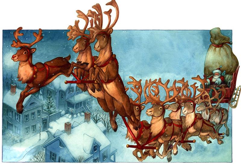 Chú tuần lộc mũi đỏ dẫn đầu đoàn xe trượt tuyết của ông già Noel