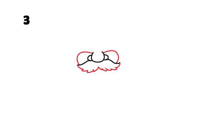vẽ đầy đủ bộ râu ông già Noel
