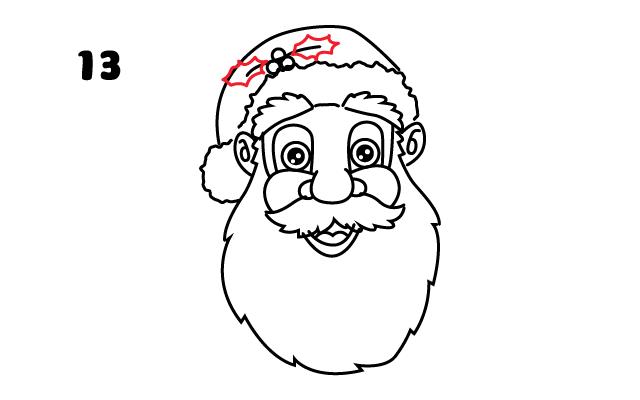 vẽ hai chiếc lá trên mũ ông già Noel