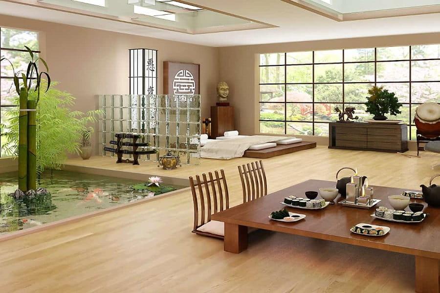 phòng khách được dọn dẹp tại Nhật Bản