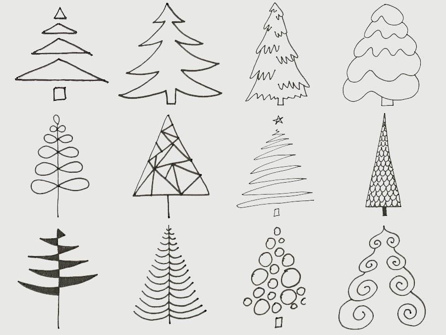 các cách vẽ cây thông noel