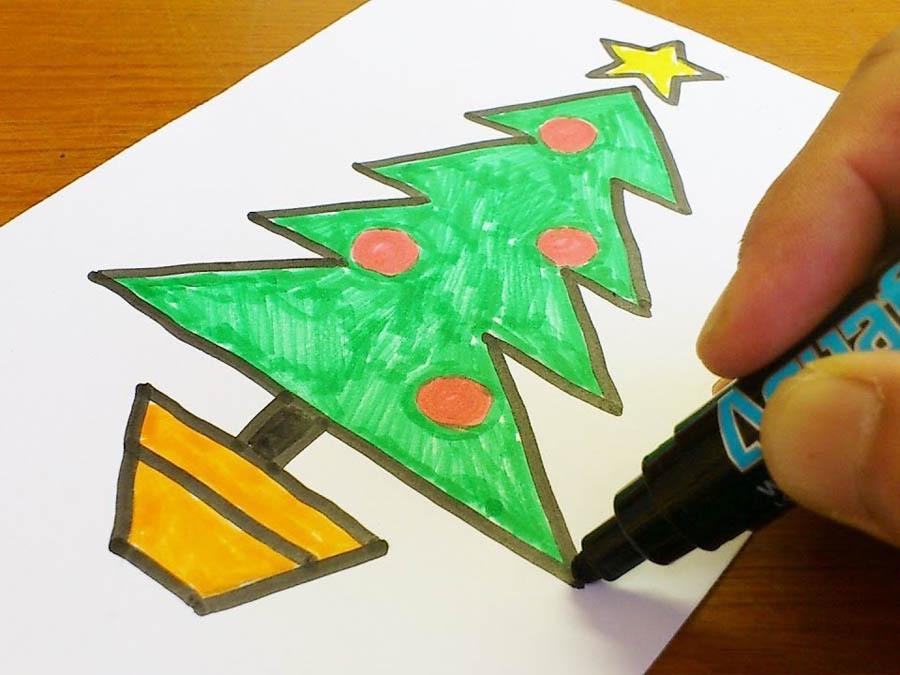 cách vẽ cây thông noel