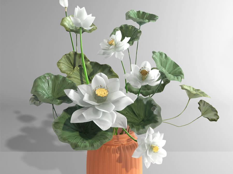 hoa sen chưng bàn thờ