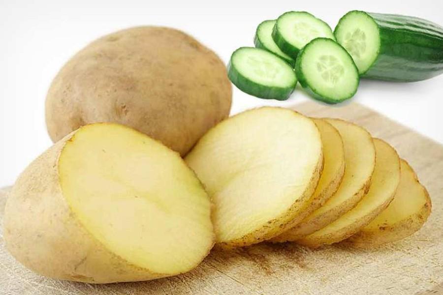 Dầu dừa có thể kết hợp với khoai tây và dưa chuột