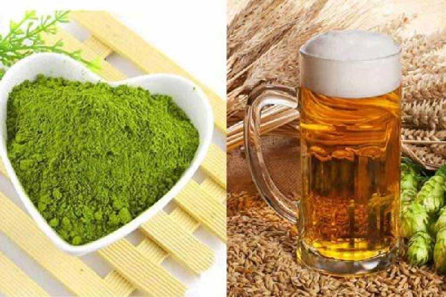 bia và bột trà xanh
